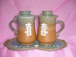 結婚禮物16 鶯歌陶瓷杯手拉對杯 +大盤子 + 雕刻