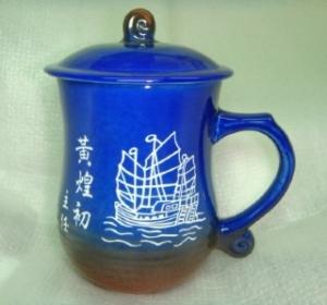 個人專屬杯09 鶯歌陶瓷雕刻杯 雕刻船圖