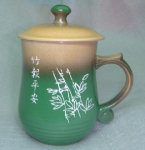 手工陶杯 G4006  雕刻 竹子圖