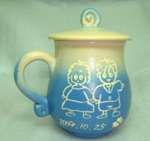 情人節禮物07 手拉坯+畫娃娃圖 鶯歌陶瓷杯 七夕情人節禮物 情人節快樂杯