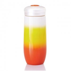 15-D1994-2 精彩隨身杯 ( 大/單層/橘黃白 ) 480 ml