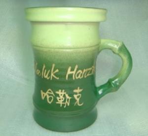 HG2002  手拉胚鶯歌陶瓷杯 手拉竹子杯 果綠綠色
