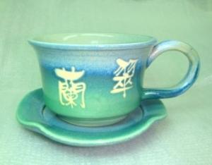 HDC207  亮藍綠--手拉坏咖啡杯