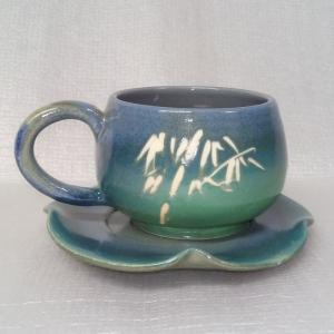 HBC201 亮藍綠色 手拉坏咖啡杯